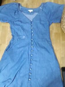 Warehouse denium look short sleeved dress size 10 💕