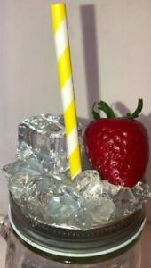 Mason Jar Lid w Straw Hole Faux Ice Topper   Strawberry and Cube with Cushed Ice