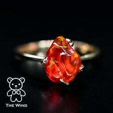 3.19 Carat Deep Red Mexican Fire Opal Engagement Wedding Ring 14K Yellow Gold