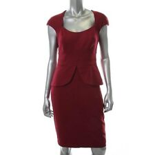 Maggy London Red Ponte Lined Knee Length Wear to Work Dress 12 - NEW