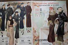 """CATALOGUE MODE """" AU LOUVRE """" 1935 EXPOSITION GENERALE DES NOUVEAUTES D'HIVER"""