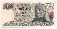 Banco  Central Argentina Diez Pesos Bank Note--No Pin Holes & No Tears !!