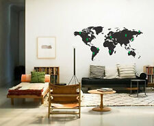 Wide 150cm Removable World Map And Pins Vinyl Wall Paper Decal Art Sticker Q877