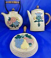 Vintage Set of 3 Tea/Coffee Pot & Skillet Wall Hangings USA Made Kitchen Decor
