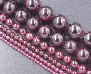 """Natural Dark Red Garnet Gemstone Round Beads 3mm 4mm 5mm 6mm 8mm 10mm 12mm 16"""""""