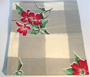 """Vintage Buffalo Check Tablecloth With Red Flowers Floral Square Shaped 54""""x 49"""""""