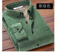 Men's Corduroy Fur Lined Shirts Warm Tops Long Sleeves Cotton casual Coats