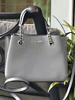 MICHAEL KORS TEAGEN SMALL MESSENGER CROSSBODY BAG GREY LEATHER SILVER $368