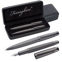Edles Ferraghini Metall-Schreibset mit Kugelschreiber und Füllfederhalter