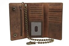 Biker Crazy Horse Brown Leather RFID Checkbook Long Trifold Bronze Chain Wallet