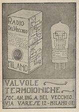 Z2066 Radio Del Vecchio - Valvole termoioniche - Pubblicità d'epoca - Advertis.
