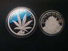 3 oz silver proof cannabis cures End the war on Freedom! silver shield COA, BU!