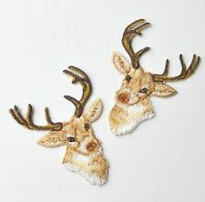1 Pair Embroidery Deer Elk Cloth Patch Iron On Patch Sew Motif Applique Patch ^