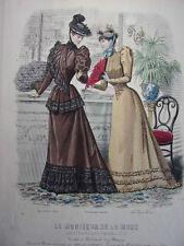 """60/ GRAVURE DE MODE """" Moniteur de la Mode Paris 1891 """".   Grand format 36x26"""
