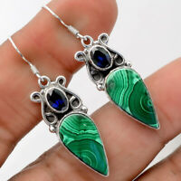 Handcrafted - Malachite Eye and Sapphire 925 Sterling Silver Earrings AE26910