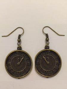 Steampunk Clock Earrings Antique Bronze Jewellery Time Watch Vintage Style
