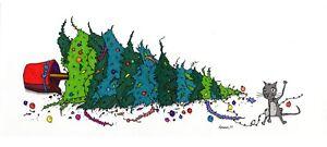Graham cameron original artwork. the art of g exhibition, christmas tree cat.
