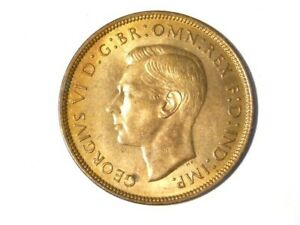 1938 George VI Penny 1d Coin Lustre & Toned #J5