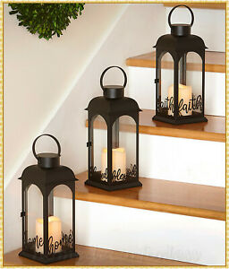 Decorative Metal Sentiment Lantern w/ LED Flameless Pillar Candle in 3 CHOICES