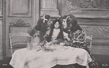 Two Girls With A Doll At Breakfast Original Antique Photo Postcard