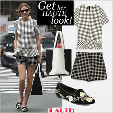 Olivia Palermo x Zara Neopren Checked Peplum Top Medium (Zivil Hochzeit Outfit)