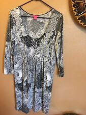 Sunny Leigh Black and White Lace Print Dress - XL