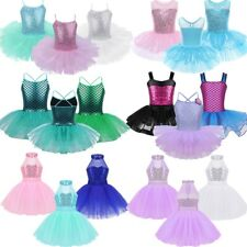 Kids Girls Sequin Ballet Dance Leotard Dress Gymnastics Tutu Skirt Swan Costume