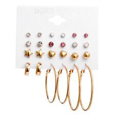 12Pairs/Set Crystal Zircon Geometric Circle Earrings Sets Women Ear Stud Jewelry