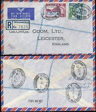 JAMAICA 1960 REGISTERED AIRMAIL WILLIAMSFIELD OVAL to LEICESTER GB