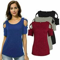 Women Summer Hole Short Sleeve Color Shirt Blouse T Shirts Casual Tee Tops