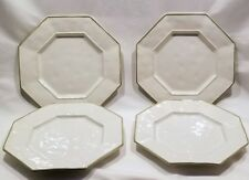 JULISKA OCTAVIA Whitewash with Portobello Trim OCTAGONAL Salad Plates set/4 RARE