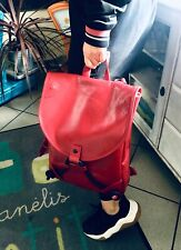 Italian  Genuine vegetable tanned leather  Red backpack
