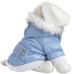 Classic Metallic Fashion Insulated Pet Dog Coat Jacket Parka w/ Removable Hood