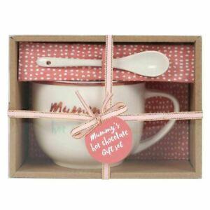 MUMMY'S HOT CHOCOLATE  COFFEE TEA MUG & SPOON SET MOTHERSDAY CHRISTMAS GIFT