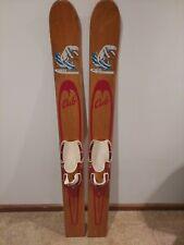 "New listing Vintage 1950s White Bear Cub Lake Wood Water Skis Nice Decals! 58"""