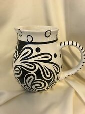 Vicki Carroll whimsical black and white floral desgn Pitcher Excellent condition