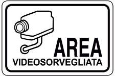 N° 2 ADESIVO cartello segnaletica  video sorveglianza mm 300x200 ! 2 pezzi !