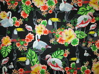 FLAMINGO TOUCAN BIRDS FLOWERS FLAMINGOS TROPICAL BLACK COTTON FABRIC FQ
