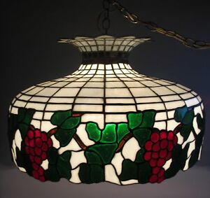 Fine BIGELOW & KENNARD Stained Leaded Glass Ceiling Lamp  c. 1920  antique