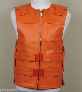 Unisex & Women's HARLEY ORANGE Leather - Bulletproof Style Motorcycle Vest