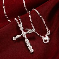 Women 925 Sterling Silver Plated Crystal Cross Pendant Necklace Chain UTAR