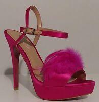 """NEW!! Paris Hilton Fuschia Pink Feather Sandals 5"""" Heels Size 8M US 38M EUR"""