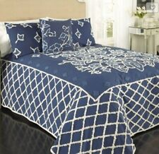 Blue Grotto Chenille Bedspread Cover Bedding Quilt FULL NEW