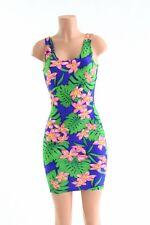 MEDIUM Hawaiian Floral Tank Style Bodycon Clubwear Rave Dress