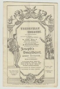 "ANTIQUE VICTORIAN ERA PROGRAMME ""Joseph's Sweetheart"" Vaudeville Theatre"