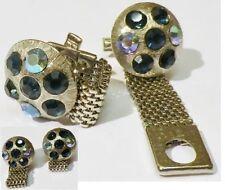bouton de manchette tibi homme vintage couleur argent cristal bleu boréal * 5289