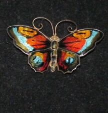 Beautiful Signed Multi-Color David Andersen Norway Sterling Butterfly Pin Ex++