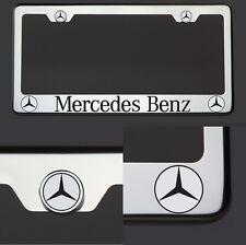 Chrome T304 License Plate Frame Mercedes Benz Black Letter Laser Etched Engraved
