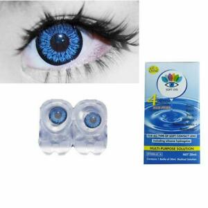 Dark Blue Contact lens & Kit Zero Power Free Lens Solution for Sexy eye party