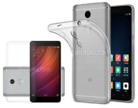 Clear Slim Gel Case and Glass Screen Protector for Xiaomi Redmi Note 4X